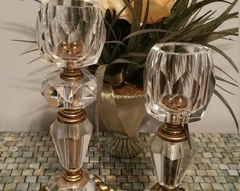 Hollywood Regency Style Candle Holder Pair