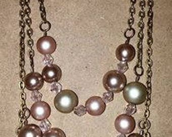 Pink & Tan Layered Necklace and Earrings