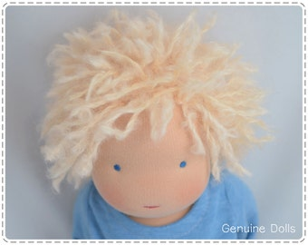 "Waldorf Boy Doll, 14"", Waldorf toys, soft dolls, Waldorf baby doll, Blond hair & blue eyes (made to order )"
