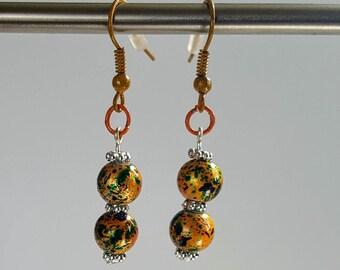 BOHO dangle earrings-coloured hooks-Boho-Festival-Rainbows-beads-Colour hooks-Black and Yellow-Earrings
