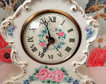 Mantle Clock Ceramic Sessions Shabby Chic 40's Hand Painted Flowers