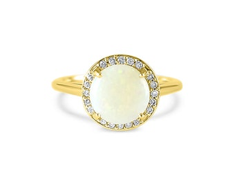 14k Yellow Gold round 8mm Opal engagement ring and pave diamond Halo- Halo gemstone  engagement ring round - Opal engagement ring -Opal ring