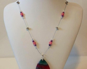 Pink and turquoise Agate necklace