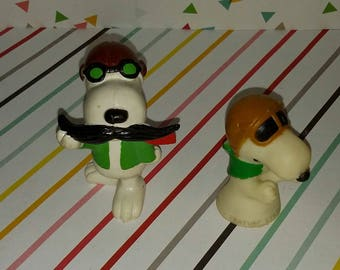 Lot of 2 Vintage Flying Ace Snoopy Red Baron The Peanuts Figures
