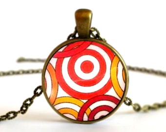 Red and Yellow Circles Kaleidoscope Pattern Necklace Pendant