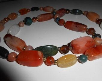Carnelian necklace length 80 cm colorful