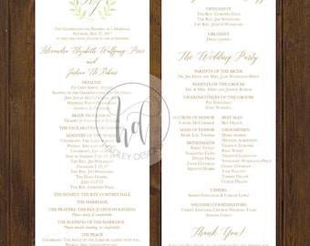 Modern Wedding Program, Formal Wedding Program, Floral Wedding Program, Classic Wedding Program, Custom Program