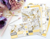 Golden Marble Horizontal Weekly Kit-- Matte Planner Stickers