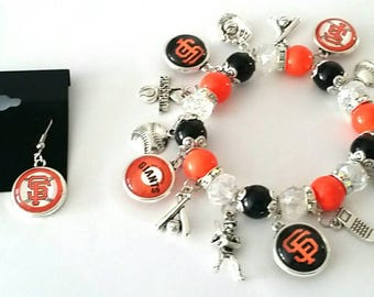 San Francisco Giants earring and bracelet set