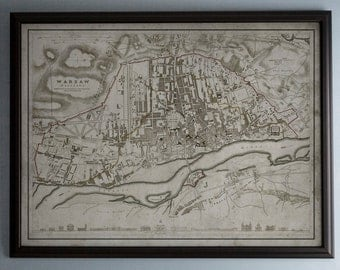 Warsaw Map: Vintage Map of Warsaw, Poland - Circa 19th C. - Weathered Map