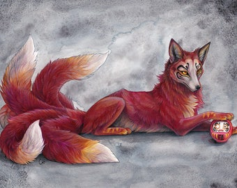 A4 Print  'Daruma Kitsune fox'