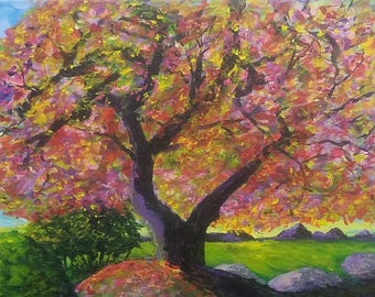 Springtime:  Flowering tree, ORIGINAL Impressionist Painting