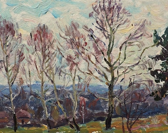 VINTAGE ORIGINAL OIL Painting by Borymchuk M. 1973, Woodland scenery, Spring, Forest Landscape, Impressionist Ukrainian art, One of a kind