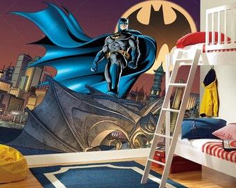 Batman wall decal etsy for Batman mural wallpaper
