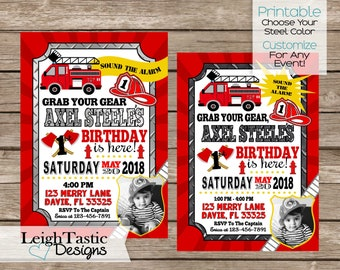 Fire Fighter Invitation, Fire Fighter Party, Firemen, Fireman Party, Fire Truck, First Birthday, Any Event, Red Fire Truck, Helmet, Fire