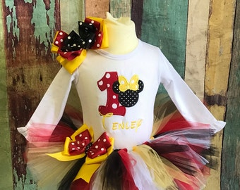 Minnie Mouse Birthday outfit, First Birthday tutu