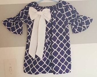 Blue and White peasant dress
