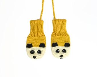 SALE! Mustard Yellow Baby Mittens, yellow panda mittens. British wool | Sizes 0 - 12 Months
