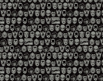 Marvel Comics III - Character Heads Fabric - Black - sold by the 1/2 yard