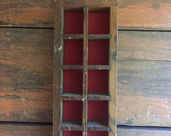 Wooden Small Cubby Shelf / Thimble Display Case / Printers Tray / Shadow Box / Folk Art