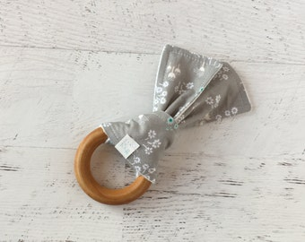 Baby Wooden Teething Ring-Floral-Grey-Modern-Fabric and Wooden Teething Ring- Sensory Toy
