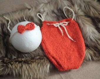 Orange Mohair baby romper and headband set, Newborn Baby girl  Baby Photo Prop Newborb baby girl Photo outfit Zucchini Island