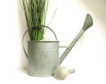 Vintage Galvanized Watering Can European Spouted Large Bucket Sprinkling Tub Planter Metal Garden Farmhouse Rustic Industrial Porch Decor