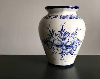 Hand Painted Portugese Blue and White Vase