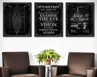 Optometrist Gift - SET OF 3 - Optometry Gift - Optometry Art - Eye Chart Art - Eye Doctor Gift - Optician Gifts Decor - Wall Art - 1859