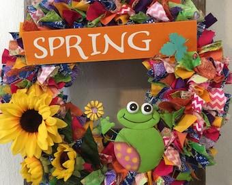 Spring wreath, summer wreath ,frog wreath