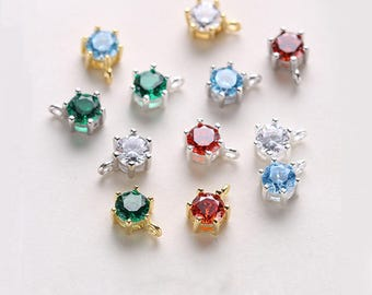 5PCS 925 Sterling Silver Crown Charms Red/Clear/Blue/Green Round Bezel Jewelry Making Fingding 5.5*8.5MM