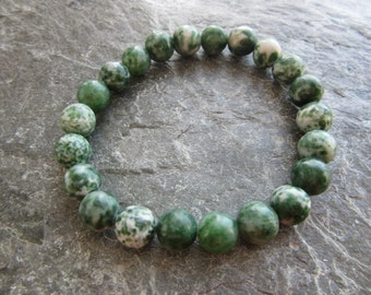 """The """"connect to nature"""" bracelet! Stretch bracelet in natural tree agate 8 mm genuine natural stone beads Reiki infused"""