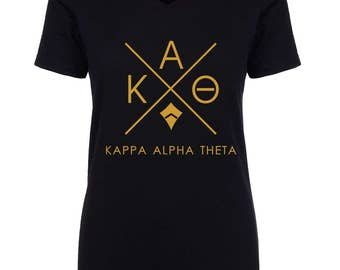 Kappa Alpha Theta Infinity V-Neck Shirt - Gold Print (unless noted otherwise)