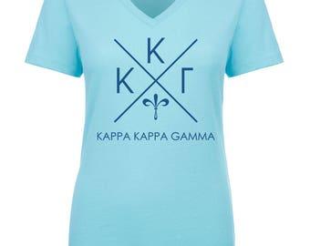 Kappa Kappa Gamma Infinity V-Neck Shirt - Navy Blue Print (unless noted otherwise)