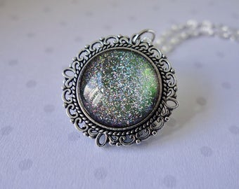 Gunmetal Glitter Cabochon Necklace ~ Made in Wales