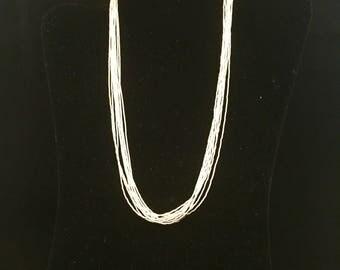 "Native American Navajo Liquid Silver 10 Strand Sterling Silver Necklace 18"""