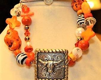 Texas Longhorn Double Stranded Orange Bracelet