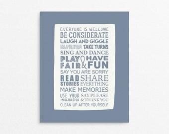 Decor Playroom, Playroom Poster, Rules Kids Room, Playroom Arts, Toddler Poster, Childrens Art Printable, Playroom Prints, Sign For Kids