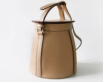 Basket Genuine Leather Bag Beige
