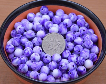 100 marble beads craft,purple Marbleized beads supply,Silver Dapple beads wholesale.round acrylic beads accessories,jewelry necklace