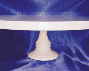 "WHITE WOODEN CAKE Stand Round 6 Inches Tall 18 Inches Wide White Sizes  8"", 10"", 12"", 14"", 16"" & 18"""