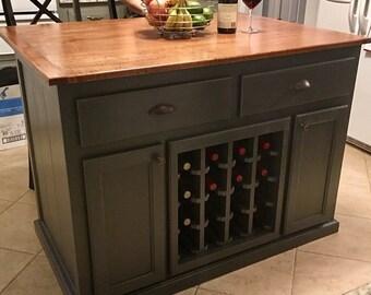 "Kitchen Island with 10"" Overhang and Wine Rack"