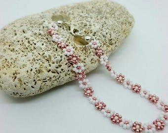 White and Rose Gold Daisy Anklet/Ankle Bracelet..Beach,Festival,Wedding
