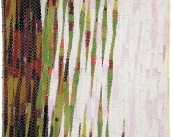 """Fabric Art Framed Stitched Textile Wall Art, """"The Warmth of the Ground"""""""