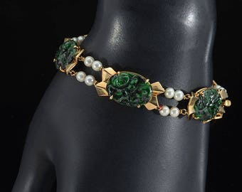 18k Jade & Pearl Bracelet