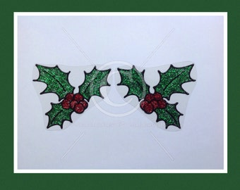 Holly window cling, Christmas decoration for glass & window areas, reusable faux stained glass effect decal, static cling suncatcher decals