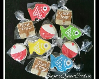 the big one/gone fishing sugar cookies