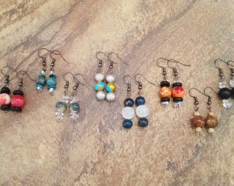 Handmade Earrings. Beaded Earrings. Onyx, Ceramic, Quartz, Agate and Greek Mykonos Beads. Hypoallergenic Dark Gray Earring Hooks. Unique.