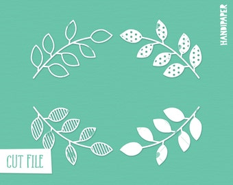 Foliage digital cut file (svg, dxf, png) for use with Silhouette, Cricut, in paper crafting, scrapbooking projects, card making, stencils.