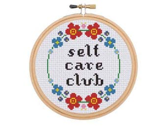PDF ONLY Self Care Club Modern Subversive Cross Stitch Template Pattern Instant PDF Download